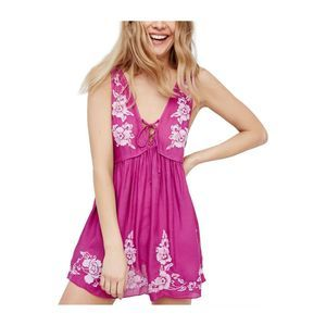 Free People Pink Aida Embroidered Slip Dress NWT